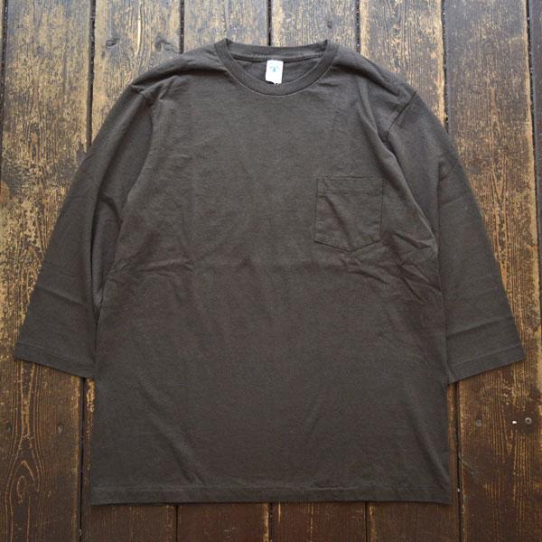 ベルバシーン Velva Sheen セットインスリーブ 7分袖 ポケットT-SHIRT TUBULER 7/S C/N TEE BLACK