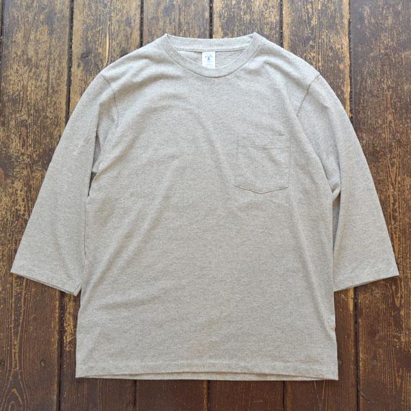 ベルバシーン Velva Sheen セットインスリーブ 7分袖 ポケットT-SHIRT TUBULER 7/S C/N TEE GRAY
