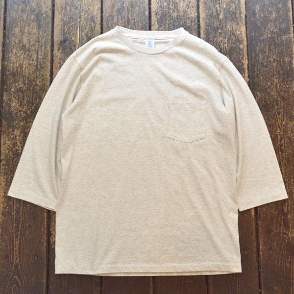 ベルバシーン Velva Sheen セットインスリーブ 7分袖 ポケットT-SHIRT TUBULER 7/S C/N TEE OATMEAL