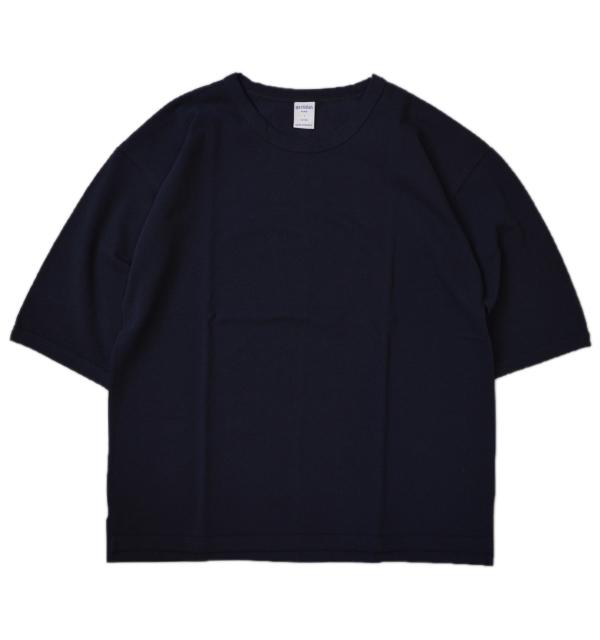 コティディアン quotidien 鹿の子ビッグ5分袖Tシャツ PIQUE BIG TEE AV15 004 NAVY