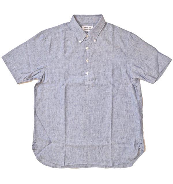 ソンタク SONTAKU リネン/クールマックス混 半袖プルオーバーシャツ 892HD26566 BLUE