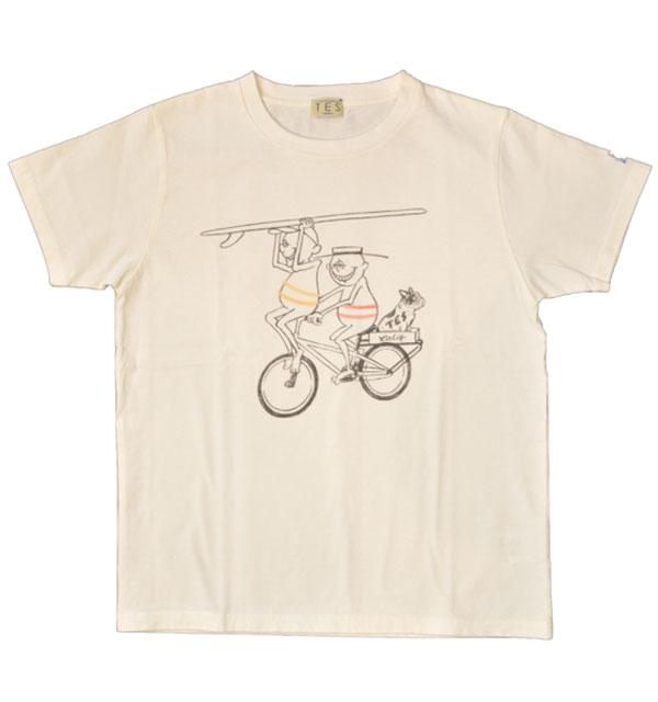 ザエンドレスサマー 【THE ENDLESS SUMMER】 プリントTシャツ TES SURF HOLIC TEE CYCLE WHITE