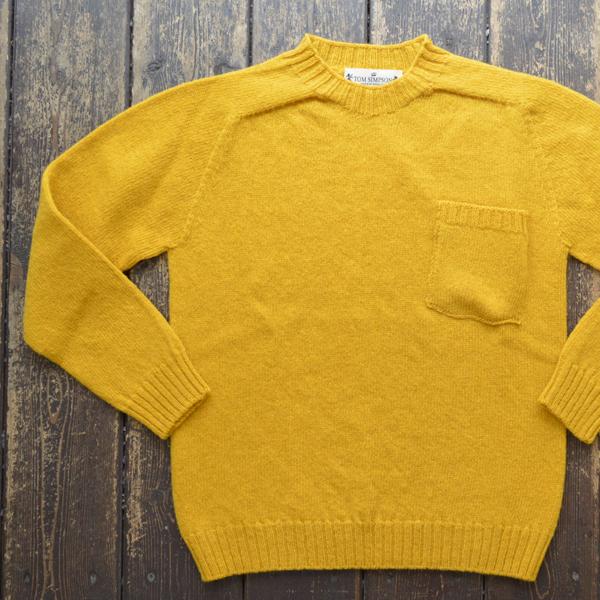 トムシンプソン TOM SIMPSON シェットランドウールポケット付きセーター Shetland Wool Pocket Sweater OLD GOLD