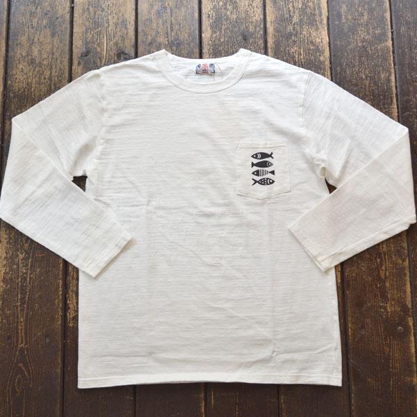 ユーエムアイ サンライズ U.M.I SUNRISE L/S スラブポケットTシャツ FISH WHITE