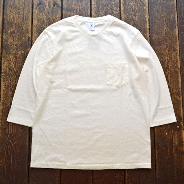 ベルバシーン Velva Sheen セットインスリーブ 7分袖 ポケットT-SHIRT TUBULER 7/S C/N TEE WHITE