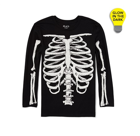 Boys Long Sleeve Glow-In-The-Dark Skeleton Ribs 光る! グラフィック スカルボーン Tシャツ/Tシャツ