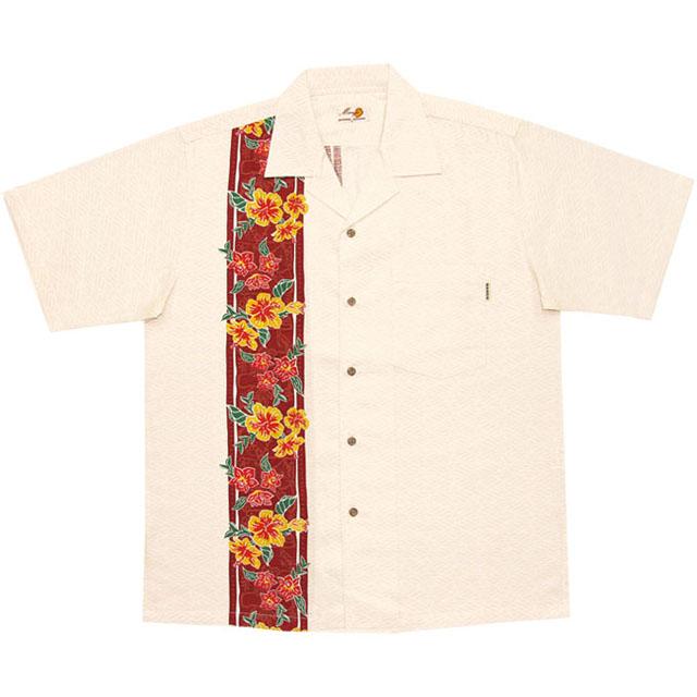 Men's紅型ランハイビーボーダー オープンシャツ オフレッド