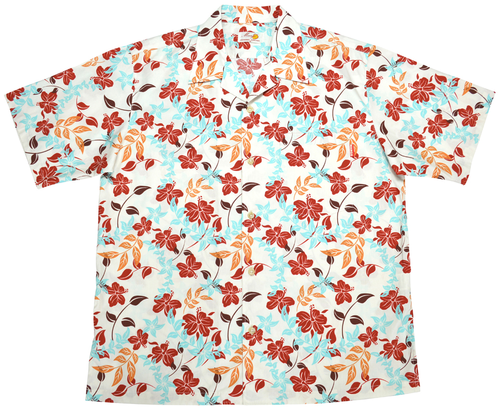 Men'sアイランドフラワー オープンシャツ アイボリー (MANGO PLUS マンゴ プラス メンズかりゆしウェア・アロハシャツ)