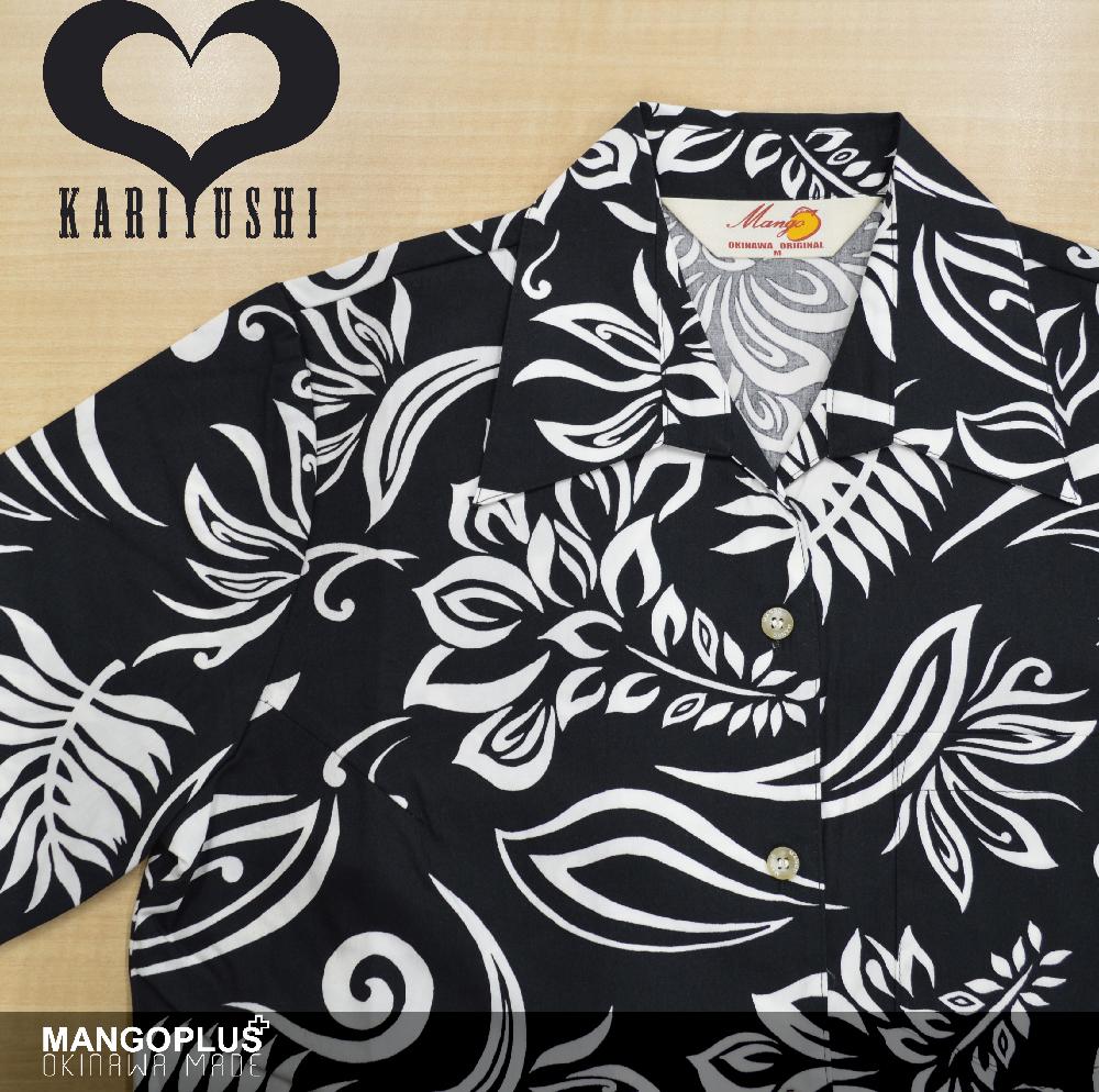 Lady's単色デイゴストレーチア スキッパー ブラック(MANGO PLUS マンゴ プラス レディースかりゆしウェア・アロハシャツ)