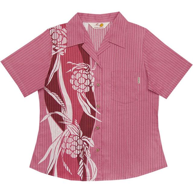 Lady'sアダンボーダー オープンシャツ ピンク