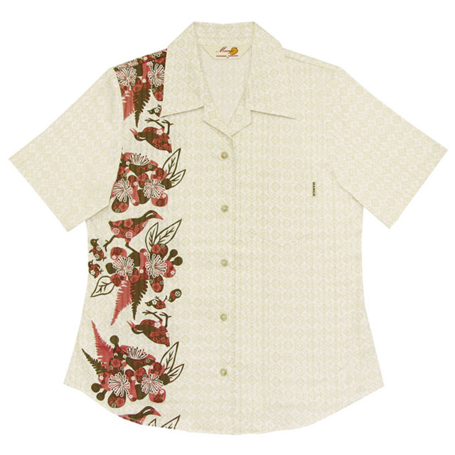 Lady's紅型イジュヤンバルクイナ オープンシャツ アイボリー