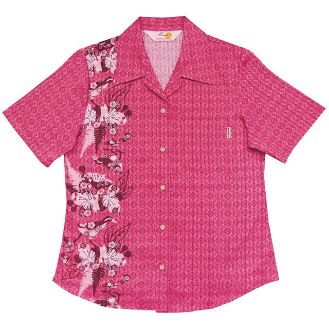 Lady's紅型イジュヤンバルクイナ オープンシャツ ピンク