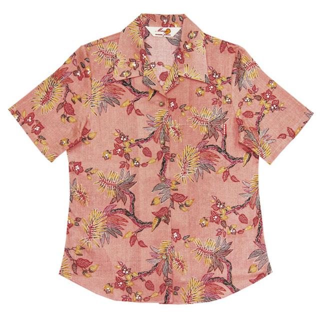 Lady's紅型古典デイゴ オープンシャツ ピンク