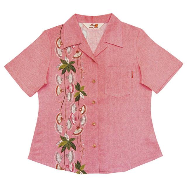 Lady's下がり花縦ボーダー オープンシャツ ピンク