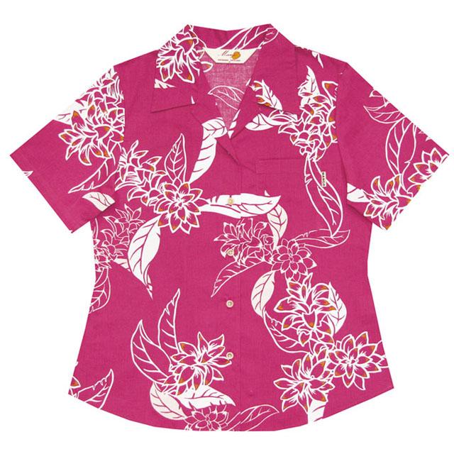 Lady's線画ウコン大柄 オープンシャツ ピンク