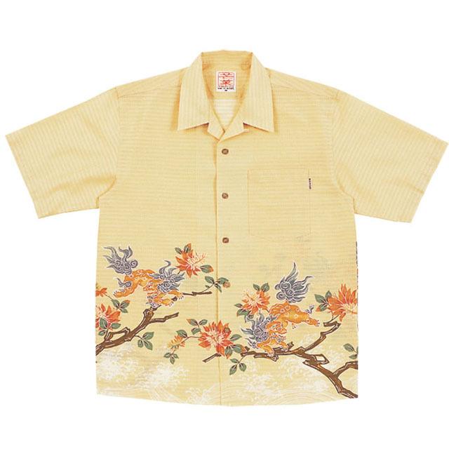 Men'sシーサーデイゴ オープンシャツ アイボリー