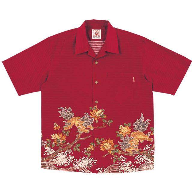 Men'sシーサーデイゴ オープンシャツ エンジ