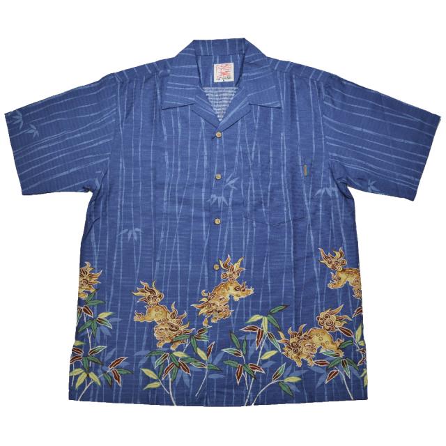 Men's バンブーシーサー  ネイビー(MANGOマンゴ メンズかりゆしウェア・アロハシャツ)