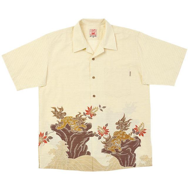 Men'sシーサー荒磯ボーダー オープンシャツ アイボリー