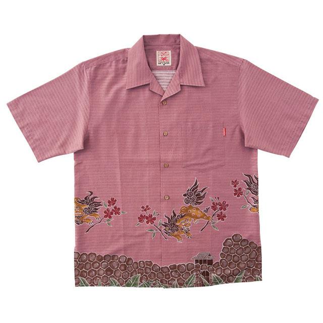 Men'sグスクシーサーボーダー オープンシャツ ピンク