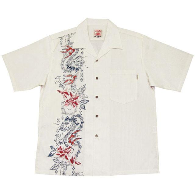 Men'sホグシドラゴンボーダー オープンシャツ オフグレー