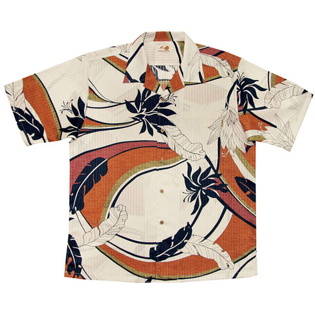 Men'sデイゴ芭蕉大柄 オープンシャツ アイボリー