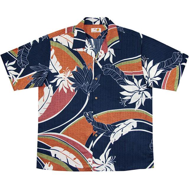 Men'sデイゴ芭蕉大柄 オープンシャツ ネイビー