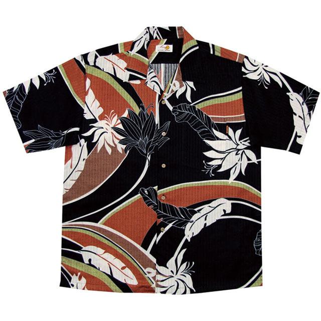 Men'sデイゴ芭蕉大柄 オープンシャツ ブラック