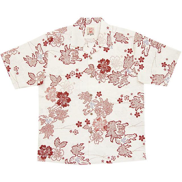 Men's和柄シーサー総柄 オープンシャツ オフレッド