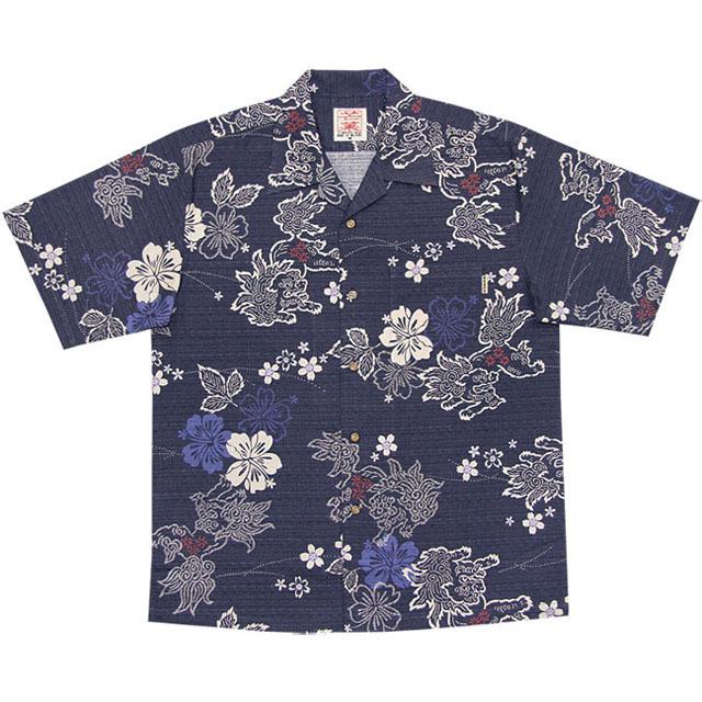 Men's和柄シーサー総柄 オープンシャツ ネイビー