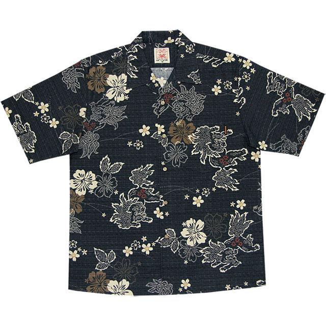 Men's和柄シーサー総柄 オープンシャツ ブラック