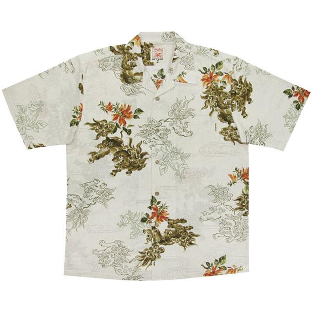 Men'sシーサーデイゴ総柄 オープンシャツ アイボリー
