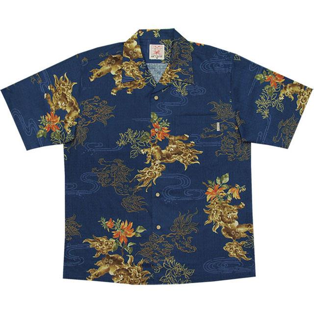 Men'sシーサーデイゴ総柄 オープンシャツ ネイビー