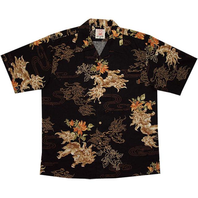 Men'sシーサーデイゴ総柄 オープンシャツ ブラック