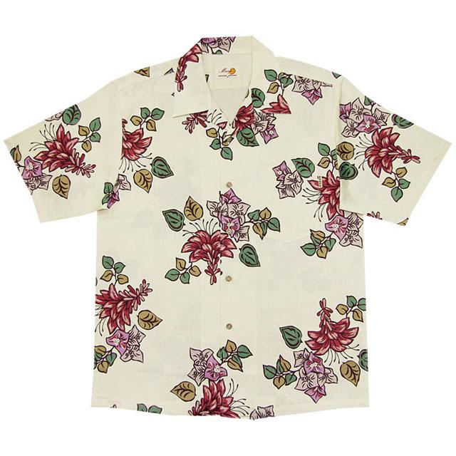 Men'sジャガードデイゴブーゲン オープンシャツ アイボリー