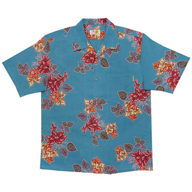 Men'sジャガードデイゴブーゲン オープンシャツ ブルー