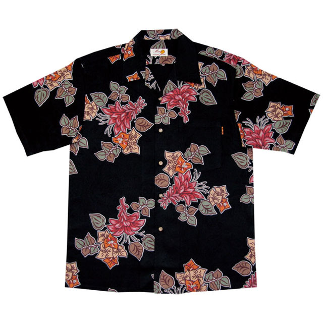 Men'sジャガードデイゴブーゲン オープンシャツ ブラック