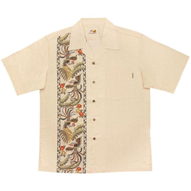 Men's鳳凰縦ボーダー オープンシャツ アイボリー