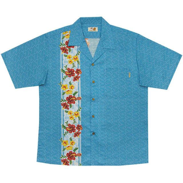 Men's紅型ランハイビーボーダー オープンシャツ ライトブルー