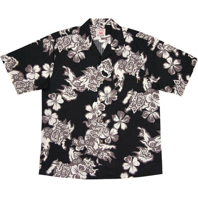 Men'sハイビーシーサー総柄 オープンシャツ ブラック