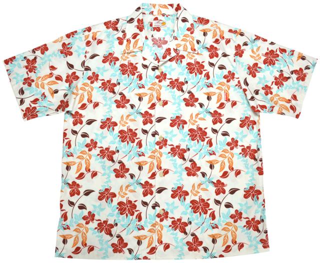 Men'sアイランドフラワー オープンシャツ アイボリー (MANGOマンゴ メンズかりゆしウェア・アロハシャツ)