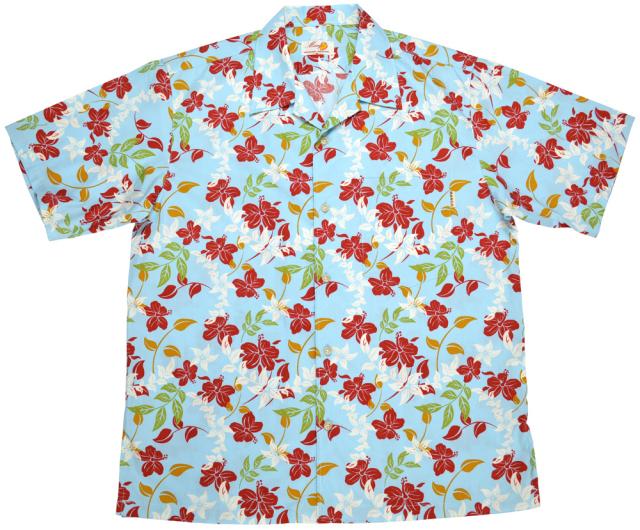 Men'sアイランドフラワー オープンシャツ ブルー (MANGO PLUS マンゴ プラス メンズかりゆしウェア・アロハシャツ)