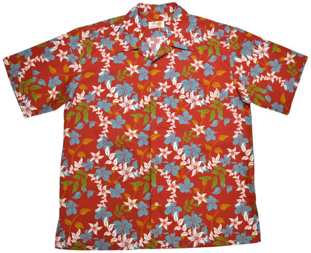 Men'sアイランドフラワー オープンシャツ エンジ(MANGO PLUS マンゴ プラス メンズかりゆしウェア・アロハシャツ)