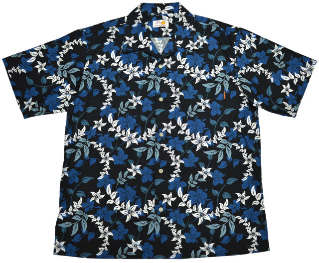 Men'sアイランドフラワー オープンシャツ ブラック(MANGOマンゴ メンズかりゆしウェア・アロハシャツ)
