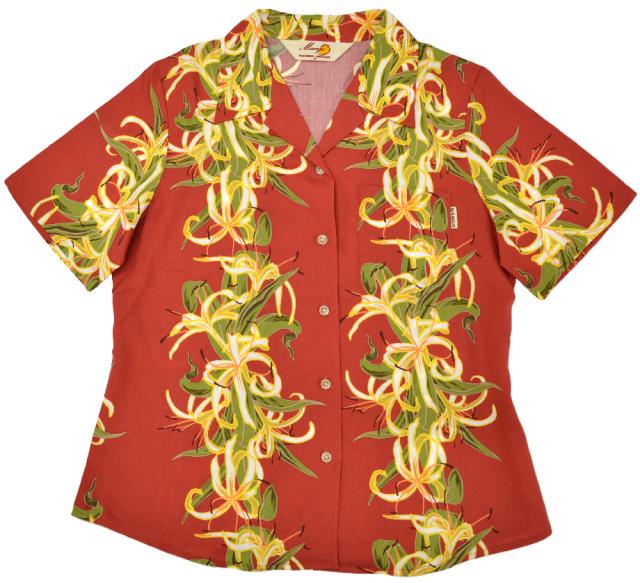 Lady'sはまゆうボーダー オープンシャツ エンジ(MANGO PLUS マンゴ プラス レディースかりゆしウェア・アロハシャツ)