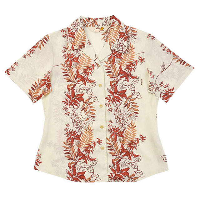 Lady'sデイゴボーダー オープンシャツ