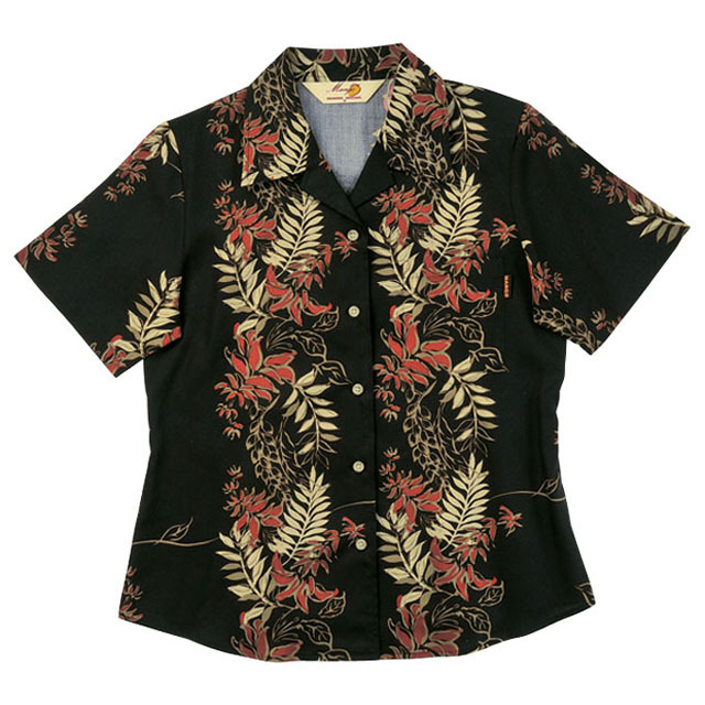 Lady'デイゴボーダー オープンシャツ ブラック