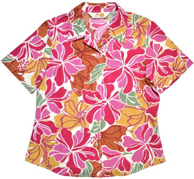 Lady'sトロピカルハイビー オープンシャツ