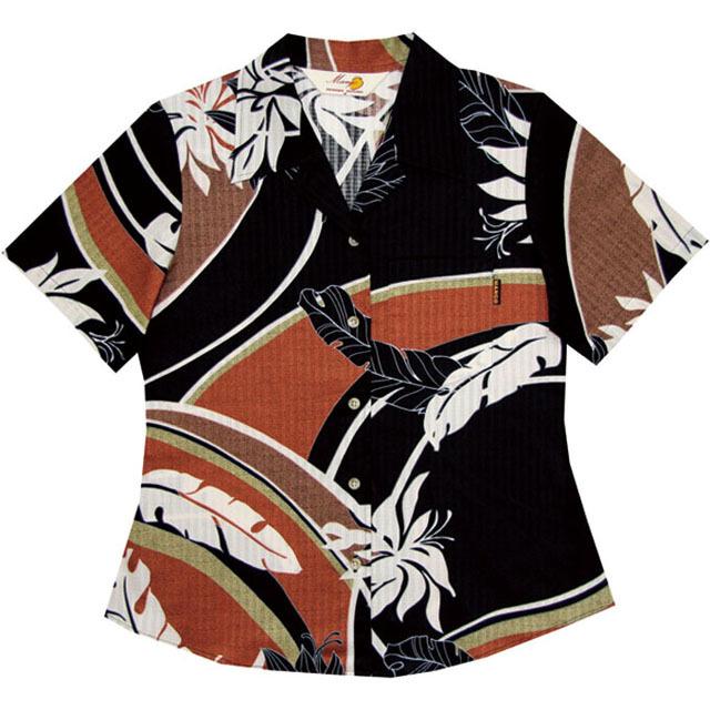 Lady'sデイゴ芭蕉大柄 オープンシャツ