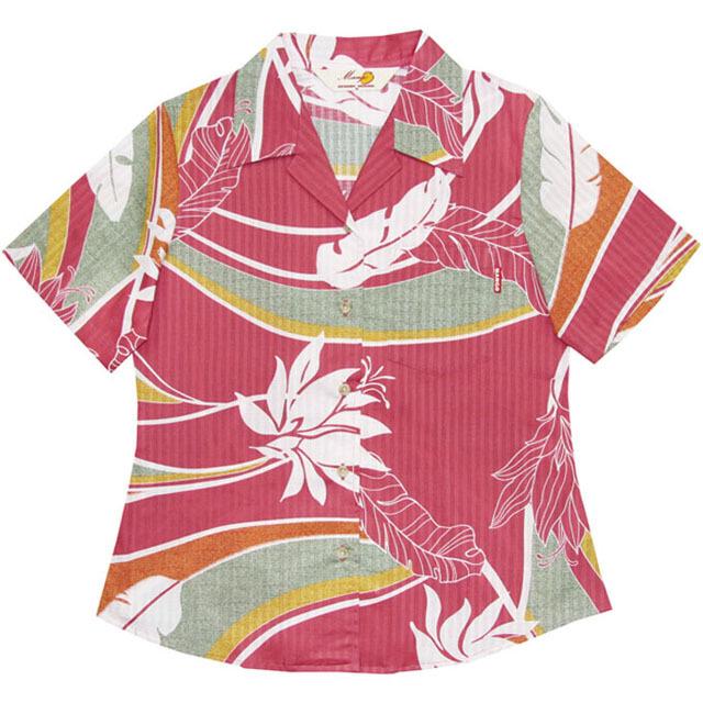 Lady'sデイゴ芭蕉大柄 オープンシャツ ピンク